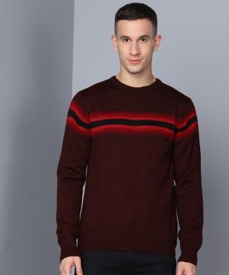 Metronaut Striped Crew Neck Casual Men Maroon Sweater