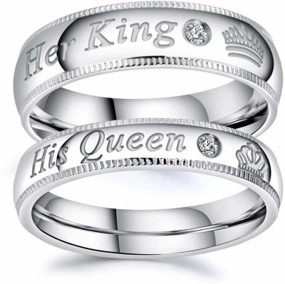 umravatiya Adjustable Couples Rings for lovers in Silver valentine gift & proposal ring Alloy Cubic Zirconia Ring Set Steel Silver Plated Ring Set