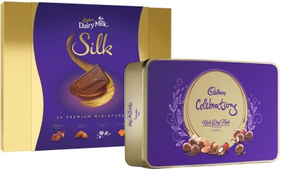 Cadbury Dairy Milk Silk Miniatures Chocolate Gift Box Bars (240 g) + Celebrations Rich Dry Fruit Chocolate Gift Pack, 177 g Brittles (177 g) Bars, Brittles(2 x 208.5 g)