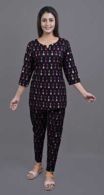 Jaipuri Stuff Women Printed Multicolor Night Suit Set