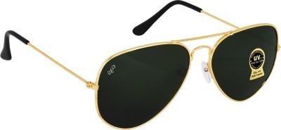 PIRASO Aviator Sunglasses(For Men & Women, Black, Golden)