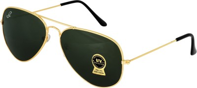 PIRASO Aviator Sunglasses(Black, Golden)