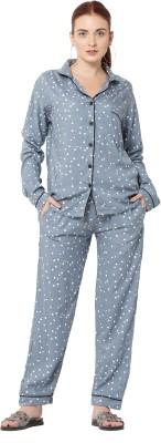 J&Z Women Polka Print Grey Shirt & Pyjama set