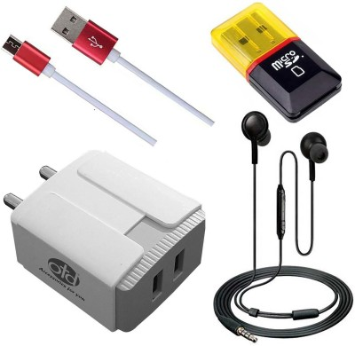 OTD Wall Charger Accessory Combo for Tecno Spark Power 2 Air, Titan T54, TP-LINK Neffos C5, TYMES Y5DT(White, Black)