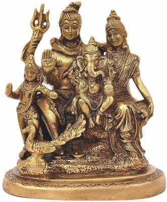 Rudram Shiva Parvati and Ganesha Murti Shiv Family Parivar Idol Statue for Home Décor Mandir Temple Gift Showpiece 6 Inches Height Decorative Showpiece  -  16 cm(Brass, Gold)