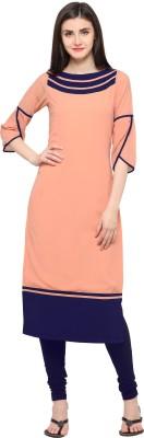 Shopping Queen Women Solid Straight Kurta(Pink)