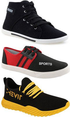 Chevit Chevit Trendy Fashion Sports Combo Pack of 3 Pairs Outdoor Running Shoes for Men Sneakers For Men Running Shoes For Men(Black, Red, Yellow)