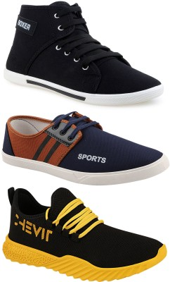 Chevit Chevit Trendy Fashion Sports Combo Pack of 3 Pairs Outdoor Running Shoes for Men Sneakers For Men Sneakers For Men(Black, Navy, Brown)