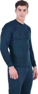 LUX COTT'S WOOL Blue Full Sleeves Round Neck Men Top - Pyjama Set Thermal