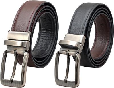 METRONAUT Men Formal Black Texas Leatherite Reversible Belt