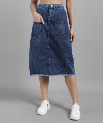 THE DRY STATE Washed Women Straight Blue Skirt