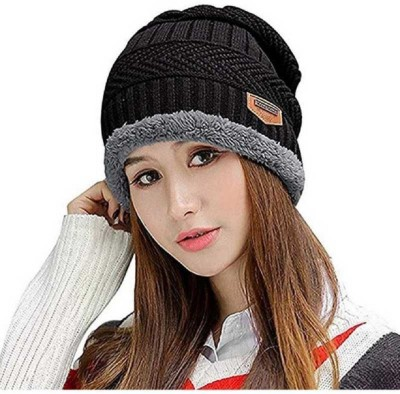 Atabz Embellished winter Beanie with fur Cap