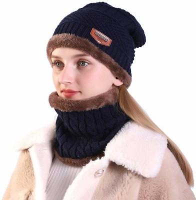 Atabz Embellished, Striped Woolen fur cap muff Cap