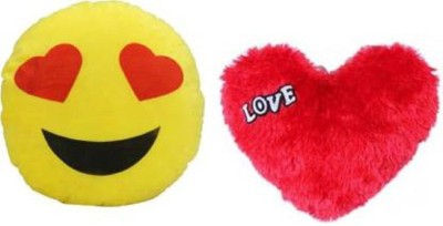 Saubhagye Polyester Fibre Smiley Cushion Heart Eye   Red Love heart  Pack of 2  Multicolor    35 cm Multicolor Saubhagye Soft Toys