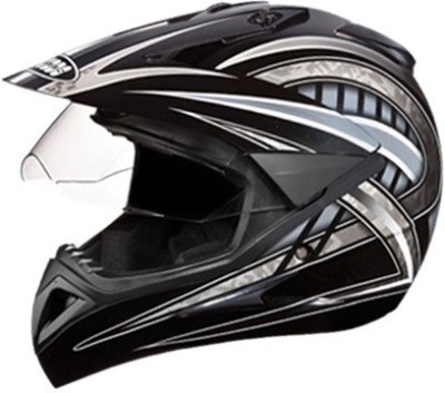 STUDDS MOTOCROSS D2 Motorbike Helmet(BLACK, GREY)