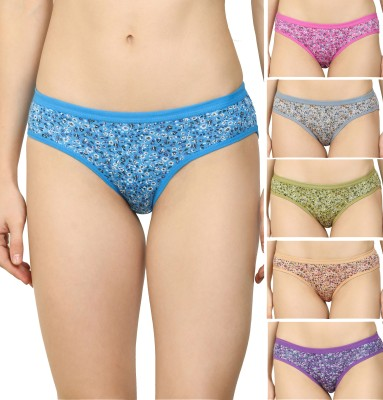 DreamBe Women Hipster Blue, Pink, Grey, Purple, Green, Brown Panty(Pack of 6)