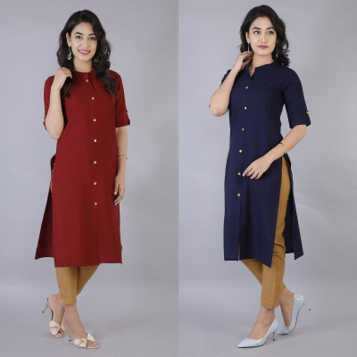 Rimeline Fashion Women Solid Straight Kurta(Dark Blue, Maroon)