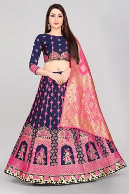 Divastri Self Design Semi Stitched Lehenga Choli(Pink, Blue)