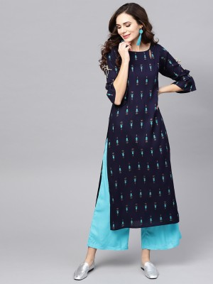 SI and KU Fabrics Women Printed Straight Kurta(Blue)
