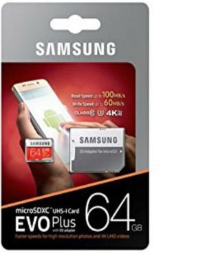 SAMSUNG EVO Plus 64  GB MicroSDXC Class 10 100 MB/s Memory Card With Adapter
