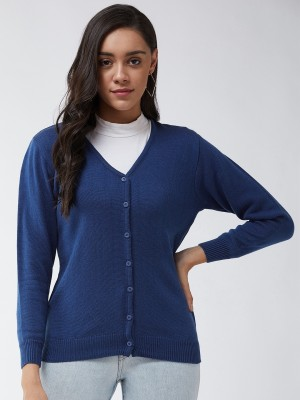 MODEVE Solid V Neck Casual Women Blue Sweater