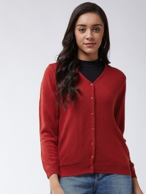 Modeve Solid V Neck Casual Women Maroon Sweater
