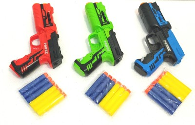 Richuzers Pack Of 3 High Quality Soft Foam Bullet Pistol Gun For Kids Guns & Darts(Multicolor)