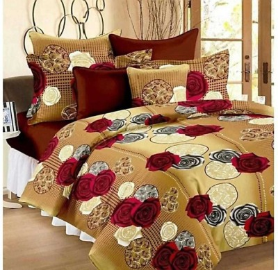 CHHAVI INDIA 120 TC Microfiber Double 3D Printed Bedsheet(Pack of 1, Multicolor)