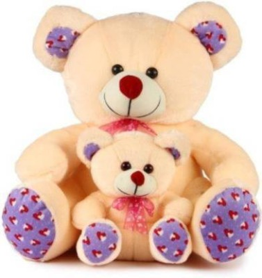 S G Enterprises Cute   Soft Stuffed Cream Mother and Baby Teddy Bear 40CM   40 cm Cream