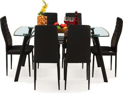 RoyalOak Milan Italian Glass 6 Seater Dining Set(Finish Color - Black)