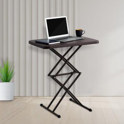 Supreme Scissor Height Adjusting Table, Globus Brown Plastic Outdoor Table(Finish Color - Brown)