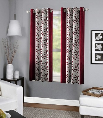 Panipat Textile Hub 152.4 cm (5 ft) Polyester Window Curtain (Pack Of 2)(Floral, Maroon)