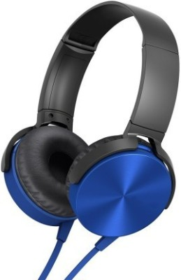 rsfuture Super Extra Bass On-Ear Wired Headphone In-line Mic Wired Headset(Blue, On the Ear)