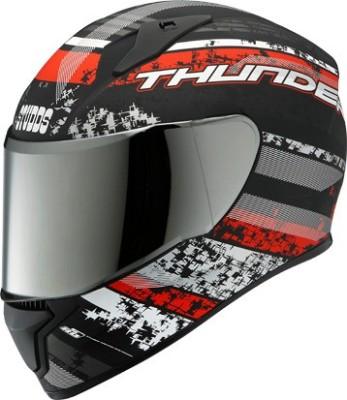 STUDDS THUNDER D1 FULL FACE WITH MIRROR VISOR MATT N2 - L Motorbike Helmet(Matt Black)