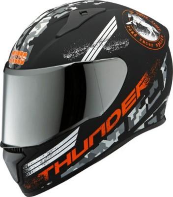 STUDDS THUNDER D2 FULL FACE WITH MIRROR VISOR- Motorbike Helmet(Matt Black)