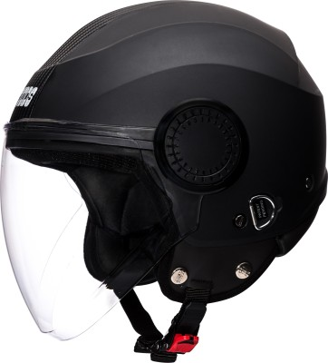 STUDDS URBAN OPEN FACE -L Motorbike Helmet(Black Black Strip)
