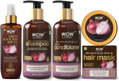 WOW SKIN SCIENCE Onion Black Seed Oil Hair Care Ultimate 4 Kit (Shampoo + Hair Conditioner + Hair Oil + Hair Mask) - 1000 ml(4 Items in the set)