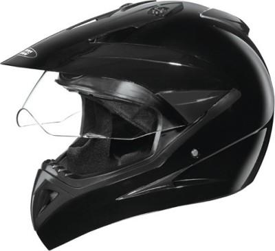 STUDDS MOTOCROSS PLAIN WITH VISOR FULL FACE -L Motorbike Helmet(Black)