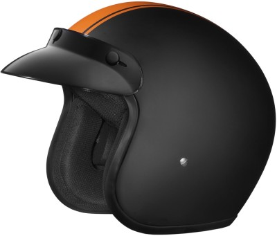 STUDDS JETSTAR CLASSIC D3 OPEN FACE ORANGE PIN STRIP Motorbike Helmet(Matt Black)