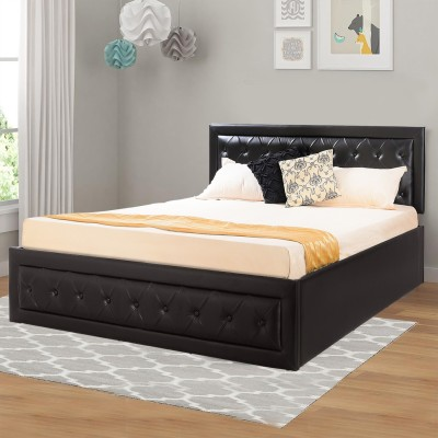 Forzza Nicolas Leatherette Engineered Wood Queen Box Bed(Finish Color -  Black)