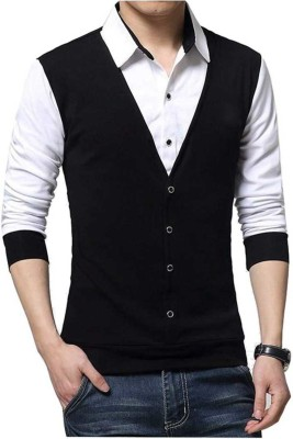 Try This Men Color Block Casual White, Black Shirt