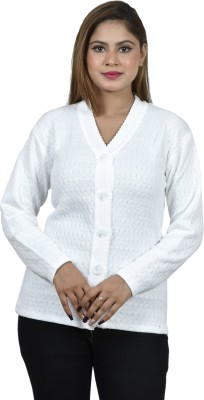 BLUSHH COLLECTION Self Design V Neck Casual Women White Sweater