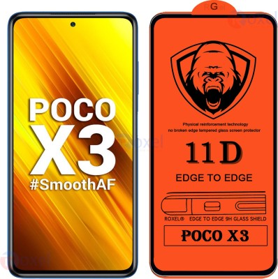 Roxel Edge To Edge Tempered Glass for Poco X3(Pack of 1)