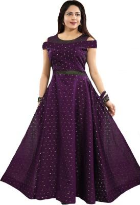 PAVAISHNA FASHION Women Printed Flared Kurta(Purple)