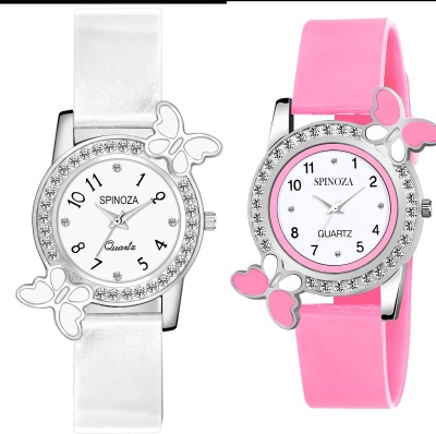 SPINOZA Glory pink diamond studded heart and designer white peacockpack of 2 Analog Watch   For Girls SPINOZA Wrist Watches
