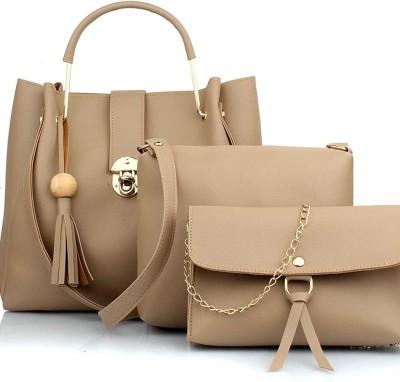 Dashmesh Women Beige Hand-held Bag(Pack of: 3)