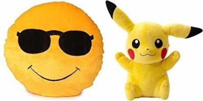 Saubhagye Smiley Cushion 35cm  Cool dude with Pikachu   35 cm Multicolor Saubhagye Soft Toys