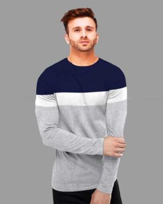 Azy Fabrics Color Block Men Round Neck White, Blue, Grey T-Shirt
