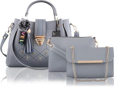 Le Platinum Women Grey Handbag(Pack of: 3)