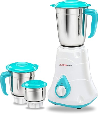 LONGWAY SUPER DLX 3 JAR 700 W Mixer Grinder(WHITE & BLUE, 3 Jars)